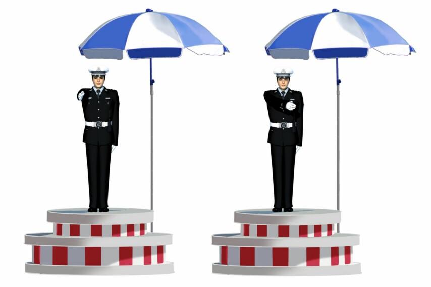 这一组交通警察手势是什么信号?A、?#26131;?#24367;信号B、减速慢行信号C、变道信号D、靠边停车信号