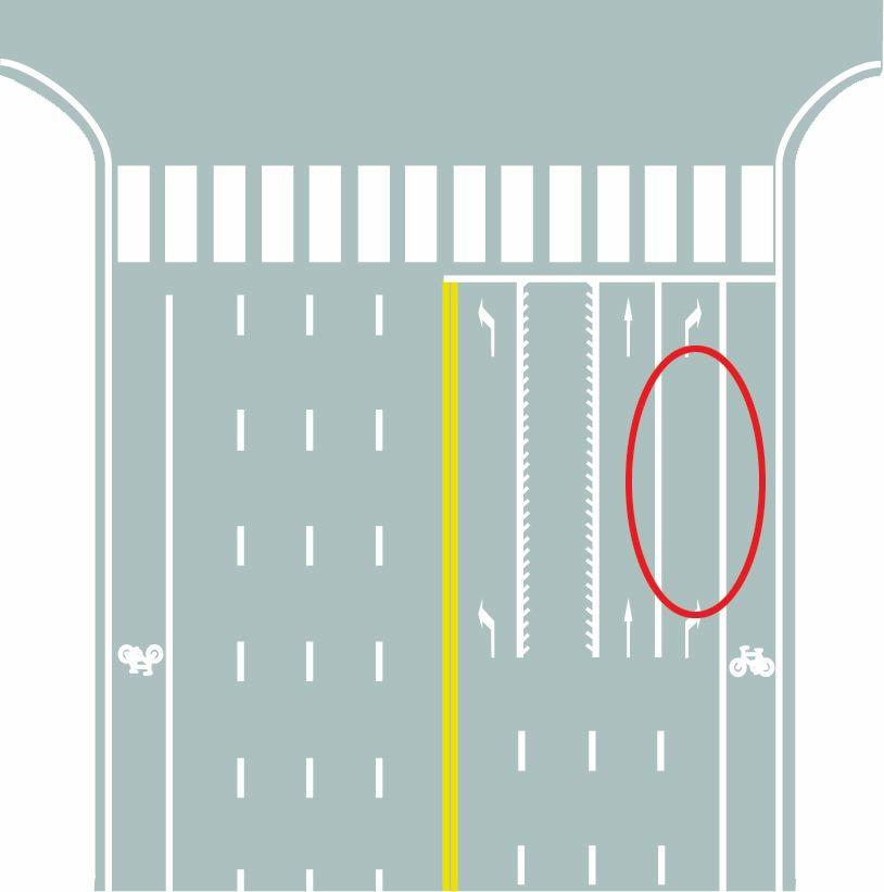 图中圈内白色实线是什么标线?A、可变导向车道线B、导向车道线C、?#36739;?#24341;导线D、单向行驶线