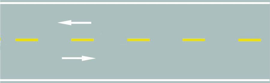 路中心黃色虛線屬于哪一類標線?A、指示標線B、禁止標線C、警告標志D、輔助標線