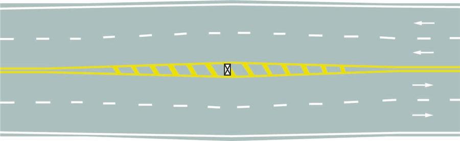 路面上的黃色填充標線是何含義?A、接近移動障礙物標線B、加寬隔離帶標線C、接近障礙物標線D、接近狹窄路面標線