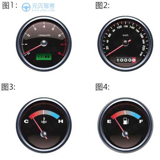 以下哪个仪表表示速度和里程表?A、图1B、图2C、图3D、图4答案是B